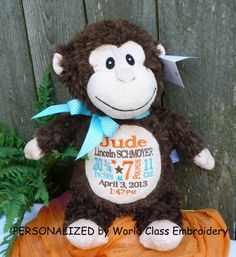 Personalized baby gift embroidered baby gift monogrammed monkey personalized baby gift embroidered baby gift monogrammed monkey birth announcement personalized by world class embroidery monkey babies and gift negle Image collections