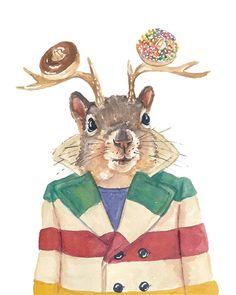 Squirrel Watercolor Illustration - 5x7 PRINT, Deer Antlers, Canada, Canadiana, Sprinkle Donut
