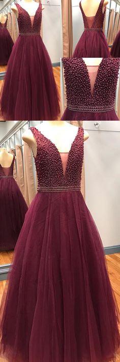 Modern A-Line V-Neck Sleeveless Tulle Long Prom Dress With Beading+#promdresses #2018promdresses #beadedpromdresses #burgundypromdresses