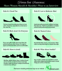 The Right Shoes to wear to a Job Interview for Women   http://www.agcareers.com/newsletters/the_right_appearance_for_job.htm