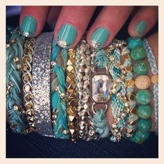 Turquoise nails with sliver tips
