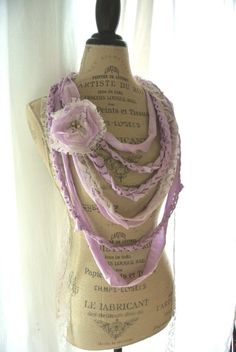 Romantic rag bib necklace, gypsy rose statement necklace, fabric necklace, boho chic jewelry, bohemain necklace, lilac, beach. $50.00, via Etsy.