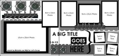 5x7 photo, plus 7 others (large and small), a nice title layout, and room for several largish embellishments. Colorful and bold - great for children