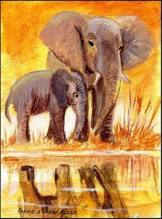 "Daily Paintworks - ""Elephants"" - Original Fine Art for Sale - © Patricia Ann…"