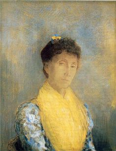 Odilon Redon (French: 1840–1916), [Post-impressionism, Symbolism] Woman with a Yellow Bodice, 1899.