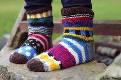 knitted socks inspired by Marimekko patterns Crochet Socks, Diy Crochet, Knitting Socks, Knit Socks, Womens Wool Socks, Baby Boots, Marimekko, Knitting Projects, Leg Warmers