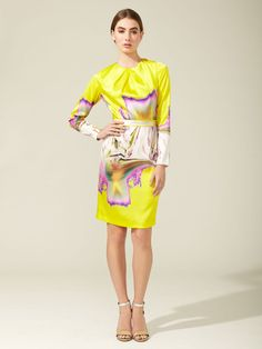 Printed Satin Dress by Vera Wang