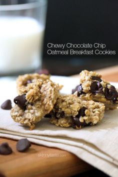 THREE ingredients: banana chocolate chip oatmeal cookies. Good idea for breakfast/on the run etc. Doesn't keep very well, so eat up. Other people say applesauce works in place of banana, too (see comments). Via skinnytaste.