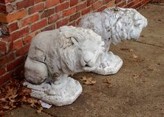 Old cement lion statues