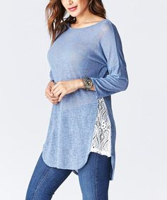 Another great find on #zulily! Blue Lace-Side Dolman Tunic #zulilyfinds