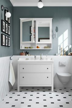 HEMNES mirror cabinet white cm IKEA Germany The aim of developing the new HEMNES bathroom series was to find new and unexpected Bathroom Mirror Cabinet, Mirror Cabinets, Ikea Bathroom Vanity, Vanity Decor, Vanity Ideas, Tv Cabinets, Bad Inspiration, Bathroom Inspiration, White Bathroom