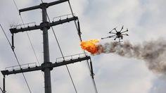 Companhia elétrica usa drones lança-chamas para limpar cabos - EExpoNews