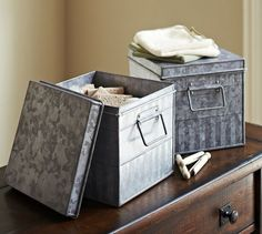 Galvanized Metal Bin | Pottery Barn - Great for kitchen pantry storage or open shelf storage!