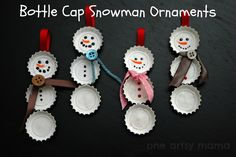 Bottle Cap Snowman Ornaments - One Artsy Mama