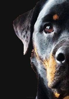 Negro y fuego Rottie perro #rottweiler por BuyArtSharonCummings