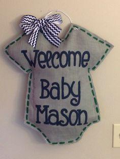 Welcome Baby Burlap Door hangerpersonalized by TheCraftyFoxLR