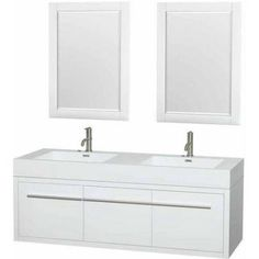 Wyndham Collection Axa 60 inch Double Bathroom Vanity in Glossy White, Acrylic Resin Countertop, Integrated Sinks, and 24 inch Mirrors