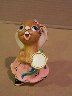 """Pendelfin Figurine """" Rosa """" Girl Bunny w/ Tambourine England Hand Painted Tambourine, My Children, Rabbits, Bunnies, Whimsical, Forget, England, Collections, Hand Painted"""