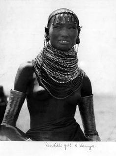 Africa | Rendille girl.  Northern Kenya || Vintage photographic print; LIFE photo collection.