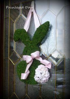 Easter Wreath. Spring Wreath. Moss Covered Bunny with Geranium Cotton ...