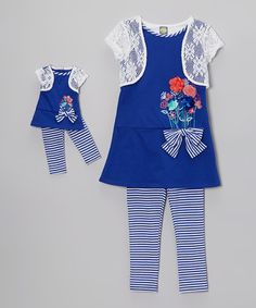 Take a look at this Blue & White Stripe Tunic Set & Doll Outfit - Girls by Dollie & Me on #zulily today!