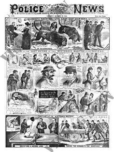 Jack The Ripper, Illustrated Police News, October 1888 London History, British History, World History, Police News, Penny Dreadful, Old London, Interesting History, Victorian Era, Vintage Posters