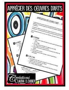 Bonjour !GUIDE GRATUIT:Voici un guide gratuit pour faire l'apprciation des oeuvres d'art au primaire.Dans ce document, vous trouverez un guide pour le 1er, 2e et 3e cycle du primaire.L'apprciation des oeuvres d'art est la partie de lvaluation des arts plastiques sur laquelle sinterrogent le plus les enseignants.