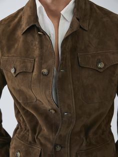 Shearling Jacket, Leather Jacket, Massimo Dutti Hombre, Nordstrom Jackets, Mens Fashion Suits, Field Jacket, Modern Outfits, Dark Khaki, Front Button