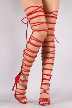 Suede Strappy Open Toe Lace Up Stiletto Over-The-Knee Boots