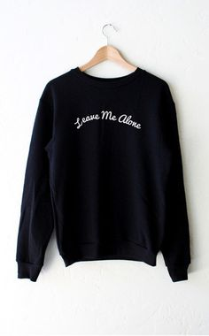 "- Description Details: 'Leave Me Alone' oversized fleece sweatshirt in black. Brand: NYCT Clothing. Unisex, oversized/loose fit. Measurements: (Size Guide) XS/S: 38"" bust, 27"" length, 25"" sleeve lengt"
