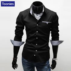 YUNY Mens Solid Turn-Down Collar Long Sleeve Business Classic Shirt Blue L