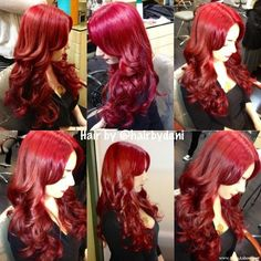 two tubes of Pravana Vivids in Red and half a bottle of Magenta with Redkin shades clear and red kicker
