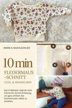 Dein eigenes kostenloses Schnittmuster für ein cooles Fledermausshirt. Eine Anleitung von K-Nähleon