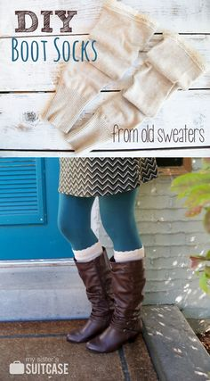 How to Make Boot Socks ~ Boot season will be here before you know it. Turn old sweaters from the thrift store or your closet into stylish DIY boot socks! How To Make Boots, How To Wear, Old Sweater, Sweaters, Upcycled Sweater, Brown Sweater, Alter Pullover, Diy Accessoires, Diy Kleidung
