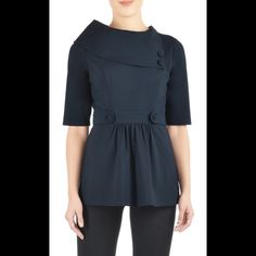 """New Eshakti Navy Ponte Knit Peplum Top L 14 New Eshakti navy ponte knit peplum top w/ bracelet length sleeves. Size L 14 Measured flat: Underarm to underarm: 38"""" Waist: 35"""" Length: 27"""" Sleeve length: 17"""" Eshakti size chart for bust 14: 40""""  Oversized asymmetric collar anchored by two self buttons, and waist-cinching button-tabbed banding. Slips on over head; side hidden zipper. Princess seamed bodice. Lined in polyester taffeta. Rayon/nylon/spandex, ponte knit, light stretch, heavier…"""