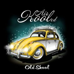 Image of Air Kooled Old Skool Yellow and White Bild von Air Kooled Old Skool Gelb und Weiß Vw Bus, Vw Camper, Carros Retro, Cool Car Drawings, Vw Vintage, Small Cars, Vw Beetles, Retro Cars, Rat Rods