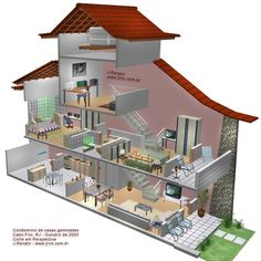 3D cutaway illustration of attached house with three floors, angle view