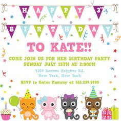 KITTY CAT Birthday Party Themed Invitation size --3 sizes available --complete digital file--