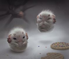 Dunno what these things are and they're a little bit creepy, but they're also really really cute ! From Spectrum The Best in Contemporary Fantastic Art Cute Fantasy Creatures, Mythical Creatures Art, Cute Creatures, Magical Creatures, Creature Concept Art, Creature Design, Animal Drawings, Cute Drawings, Animal Espiritual