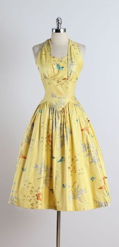 1950's Butterfly Print Halter Dress