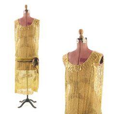 VINTAGE 20s Sheer GOLDEN Beaded Mink Fur Trim FLAPPER Art Deco Embellished DRESS