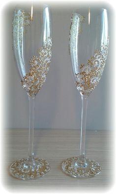 """Купить Свадебные бокалы """"Золотые узоры"""" - золотой, свадьба, бокалы для свадьбы, бокалы для молодоженов"""