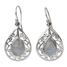 NOVICA Moonstone 925 Sterling Silver Dangle Earrings Rainbow Teardrops -- You can find more details by visiting the image link.