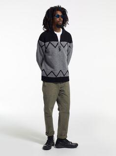 Model is wearing: Whistler Sweater, Herringbone Utility Pant #stussy #mensfashion #holiday12