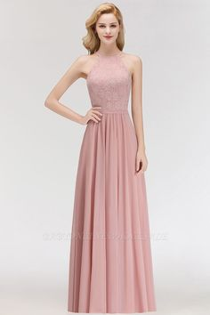 c05034189285 MARIANNA | A-line Sleeveless Halter Long Lace Chiffon Bridesmaid Dresses.  Pink LaceLilacFloor Length ...