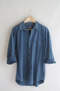 Chambray denim shirt. Unisex indigo shirt. Soft by SwanDiveVintage, $35.00
