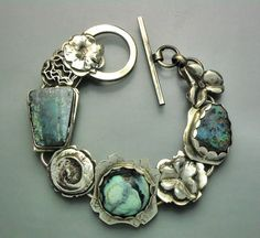 Turquoise and Opal Flower Bracelet by Temi on Etsy