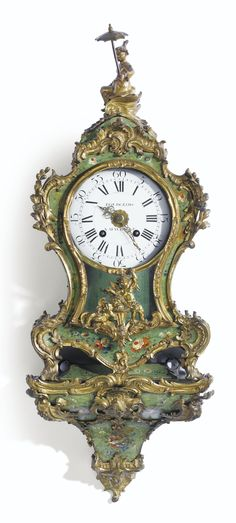 A GILT-BRONZE MOUNTED LACQUERED BRACKET CLOCK STAMPED B. LIEUTAUD, LOUIS XV
