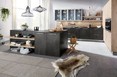 Contemporary Concrete Effect Dark Grey Kitchen with Island & Glass Wall Cabinets Kitchen Units, Kitchen Island, Dark Grey Kitchen, Modern Country Kitchens, German Kitchen, Kitchen Showroom, Contemporary Kitchen Design, Kitchen Furniture, New Homes