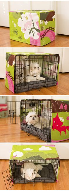Great idea for decorating the ugly looking cages - I made this crate cover for my dog using IKEA fabric.